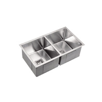 Milano Double Bowl Square Kitchen Sink - Stainless Steel
