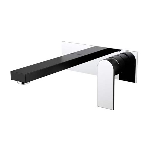 Millennium Kiato Wall Basin Mixer - Matte Black & Chrome