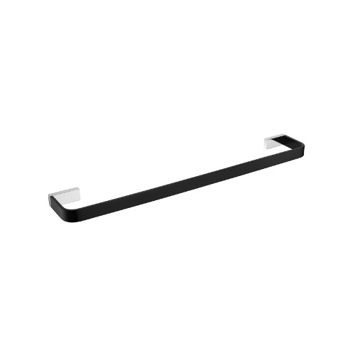 Inis 600mm Single Towel Rail - Matte Black & Chrome