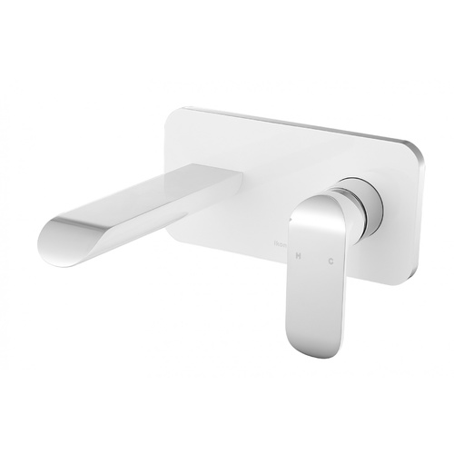 iKon Kara Wall Basin Mixer - Chrome & White