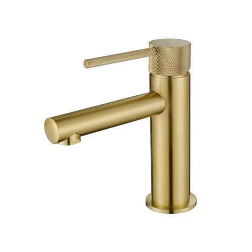 Modern National Knurled Basin Mixer - Brushed Bronze
